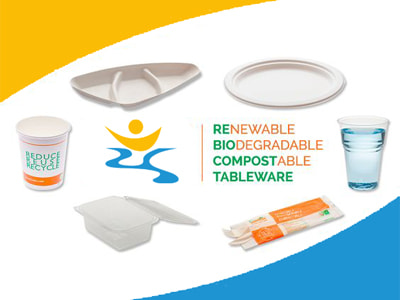 compostable tableware on board