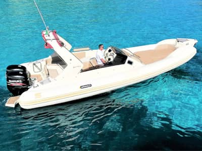 the one is our deluxe boat for rent for your private boat tour with skipper